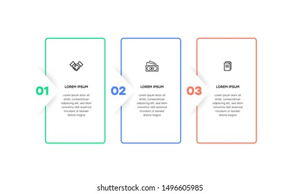 Infographic. Vector Infographic design template with icons and 3 numbers options or steps. Can be used for process diagram, presentations, workflow layout, banner, flow chart, info graph.