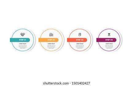 Infographic. Vector Infographic design template with icons and 4 numbers options or steps. Can be used for process diagram, presentations, workflow layout, banner, flow chart, info graph.
