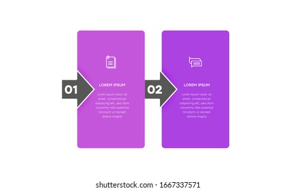 Infographic. Vector Infographic design template with icons and 2 numbers options or steps. Can be used for process diagram, presentations, workflow layout, banner, flow chart, info graph.