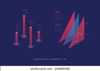 Infographic vector elements. Illustration of data financial graphs or diagrams, information data statistic. Isometric design. Template for presentation, report design, website.
