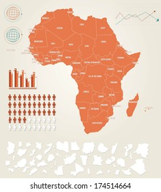 Infographic vector illustration with Map of Africa