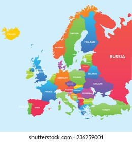 Infographic vector illustration with Map of Europe