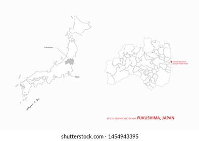 infographic vector map of fukushima in japan. japan map.