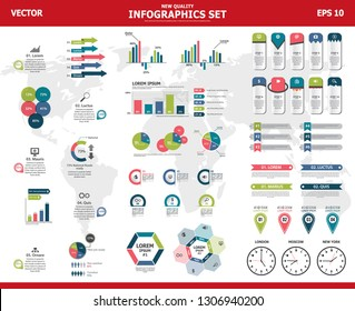Infographic vector mega set. Rich collection of elements for marketing presentation, business reports, data visualisation, quality layout templates, data analytics or other projects.