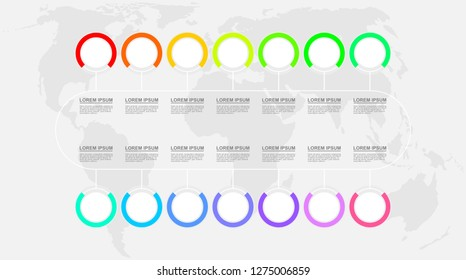 Infographic vector template for business presentation, diagram, workflow concept with 14 options on world map background