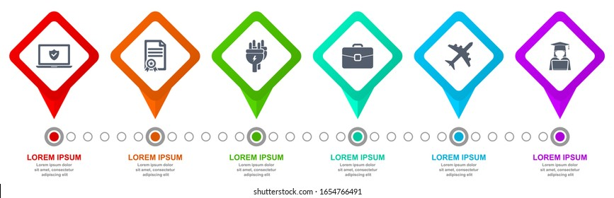 Infographic vector template for presentation, diagram, business concept with 6 options