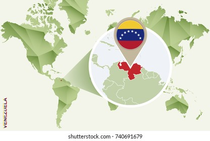 Infographic for Venezuela, detailed map of Venezuela with flag. Vector Info graphic green map.
