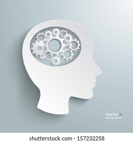Infographic with white a head and white gears on the grey background. Eps 10 vector file.