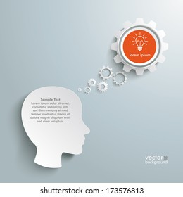 Infographic with white a head on the grey background. Eps 10 vector file.