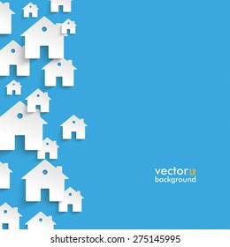 Infographic with white houses on the blue background. Eps 10 vector file.