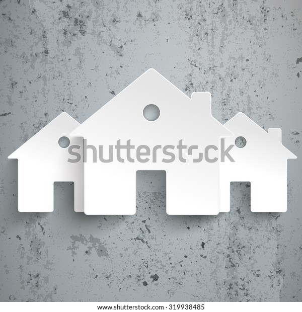 Infographic with white houses on the concrete background. Eps 10 vector file.