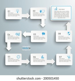 Infographic with white rectangles on the grey background.  Eps 10 vector file.