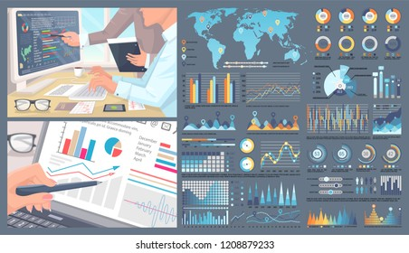 Infographic  with world map and people working on finding solutions vector. Graphs pie diagram with percentage and numeric statistics data on screen