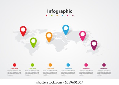 infographic world map, transport communication information plan position