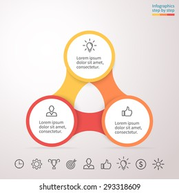 Infographics with 3 steps, options, parts, processes. Vector business template for presentation and training.