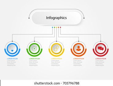 Infographics of 5 elements business data visualization banner option