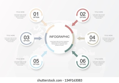 Infographics 6 element circles, Work and Success concept.