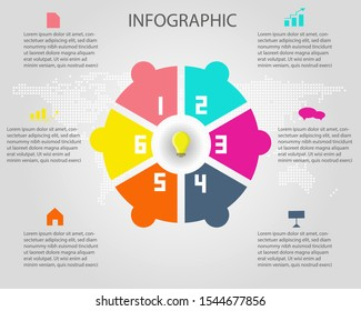 INFOGRAPHICS 6 steps, options or timeline for your business design.