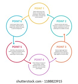 Infographics with 6 steps (points) in colorful rounded outline, sample text in circular form - vector template