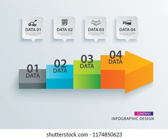 Infographics arrow timeline step with 4 data template. Vector Process chart background. Can be used for workflow layout, data, business options, banner, brochure.