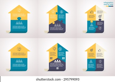 Infographics with arrows. Universal abstract element of chart, graph, diagram with 2, 3, 4 steps, options, parts, processes. Vector template for presentation and training.