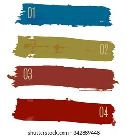Info-graphics banner illustration vector colored paint strokes.