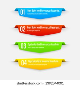 Infographics banners. Gradient. A vivid illustration of the layout of the labels banner. Colored ribbon labels with a set of steps. A template for the design. All elements are isolated.EPS 10.