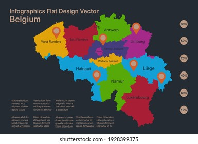 Infographics Belgium map, flat design colors, with names of individual regions, blue background with orange points vector