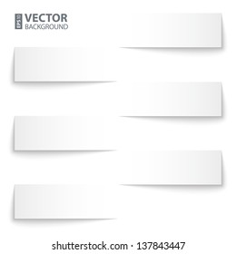 infographics blank paper stripe banners with shadows on white background. RGB EPS 10 vector illustration
