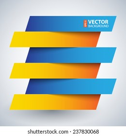 Infographics blue and orange paper rectangle banners with shadows on white background. RGB EPS 10 vector illustration