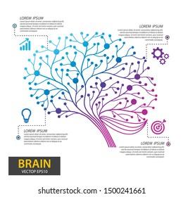 Infographics brain tree design. Digital Tree, technology, network, wireless, internet, communication, nature vector illustration.