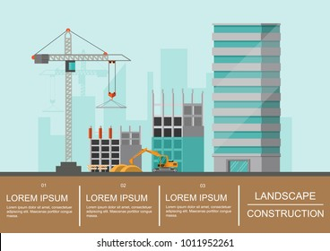 infographics Building site work process under construction with cranes and machines.Vector illustration.