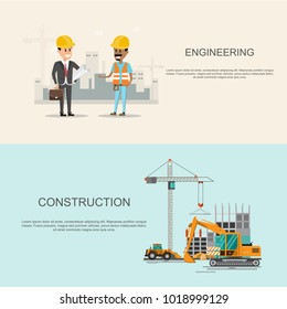 infographics Building site work process under construction with cranes and machines.Vector illustration