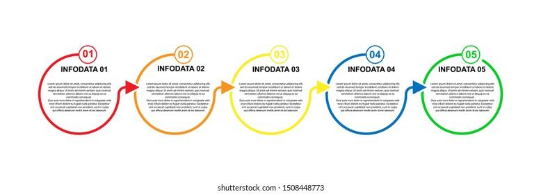 Infographics. Business process with 5 stages of development strategy, formation or reorganization plan. Presentation plan.