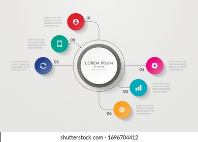 Infographics business process with 6 steps or options circles. Data visualization. Can be used for workflow layout, diagram, banner, web design. Vector illustration.