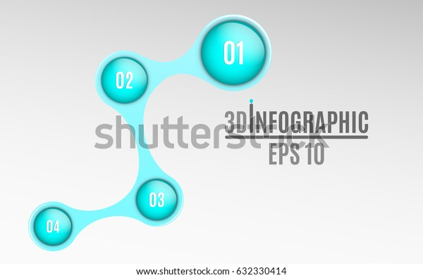 Infographics for business projects. Glossy diagram in 3d style. Volumetric, glossy balls with option numbers. Business strategy. Vector illustration of a metaball style. EPS 10