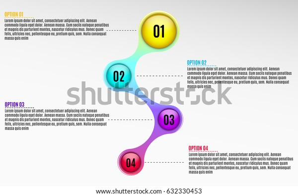 Infographics for business projects. Glossy diagram in 3d style. Multicolored colors. Volumetric, glossy balls with option numbers. Business strategy. Vector illustration of a metaball style. EPS 10
