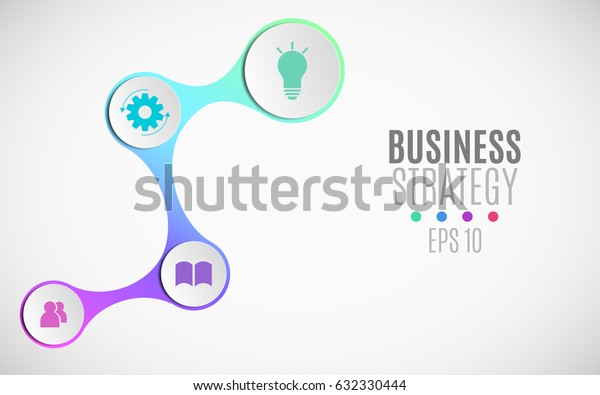 Infographics for business projects. Paper chart in 3d style. Volumetric, paper circles with icons for the web. Business strategy. Vector illustration of a metaball style. EPS 10