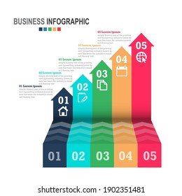 Infographics business template 3D stairs with arrow, steps for Presentation, Sale forecast, Web design, improvement, Step by Step