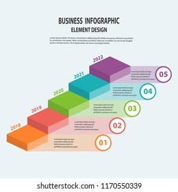 Infographics business template with arrow steps for Presentation, Sale forecast, Web design, Improvement, Step by Step