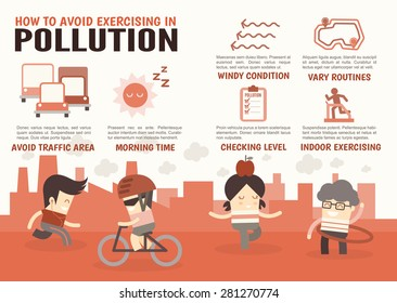 infographics cartoon characters about how to avoid exercising in pollution