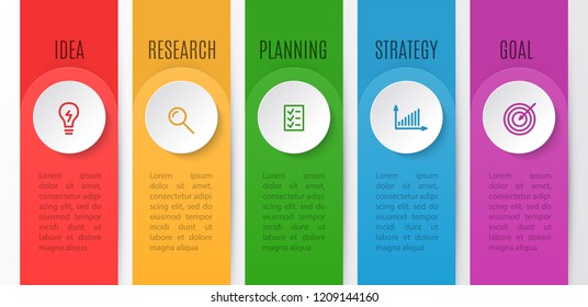 Infographics chart for business creative concept. Timeline with 5 steps. Vector illustration of infographic element for idea, research, planning, strategy, goal.