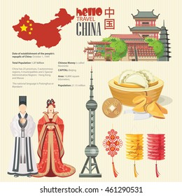 Infographics of China. China travel poster with icons, infographics elements , landmarks and famous Chinese symbols on light background.