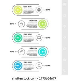 Infographics circular with five steps, parts, icons. Flat vector template. Can be used for diagram, business, web, banner, presentations, flow chart, info graph, timeline, content, levels.