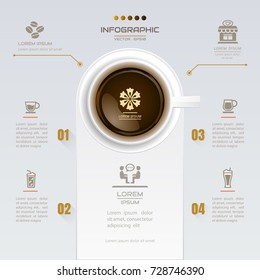 Infographics Coffee design template with icons, process diagram, vector eps10 illustration