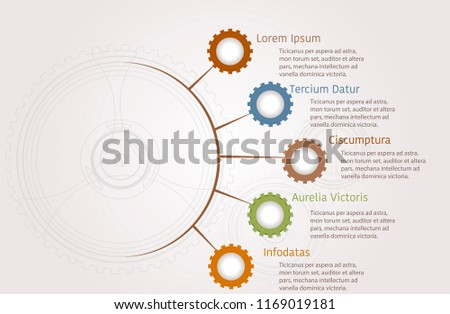 infographics cogs gears presentation business strategy stock vector