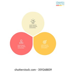 Infographics with colored petals. Diagram, chart with 3 steps, options, parts, processes with petals. Vector business template in cream and orange for presentation.