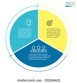 Infographics with colored sections. Flat pie chart with 3 steps, options, parts, processes with arrows. Vector business template in blue and yellow for presentation and training.