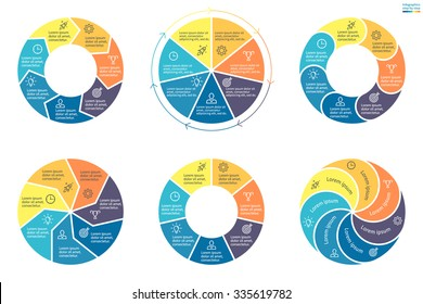 Infographics with colored sections. Flat pie charts, graphs, diagrams with 7 steps, options, parts, processes. Vector business templates in blue and yellow for presentation.