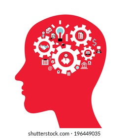 Infographics concept with head profile, brain, gears and business icons. Vector illustration